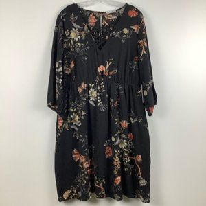 NWT Dex Floral Lace Up Dress in Black Multi